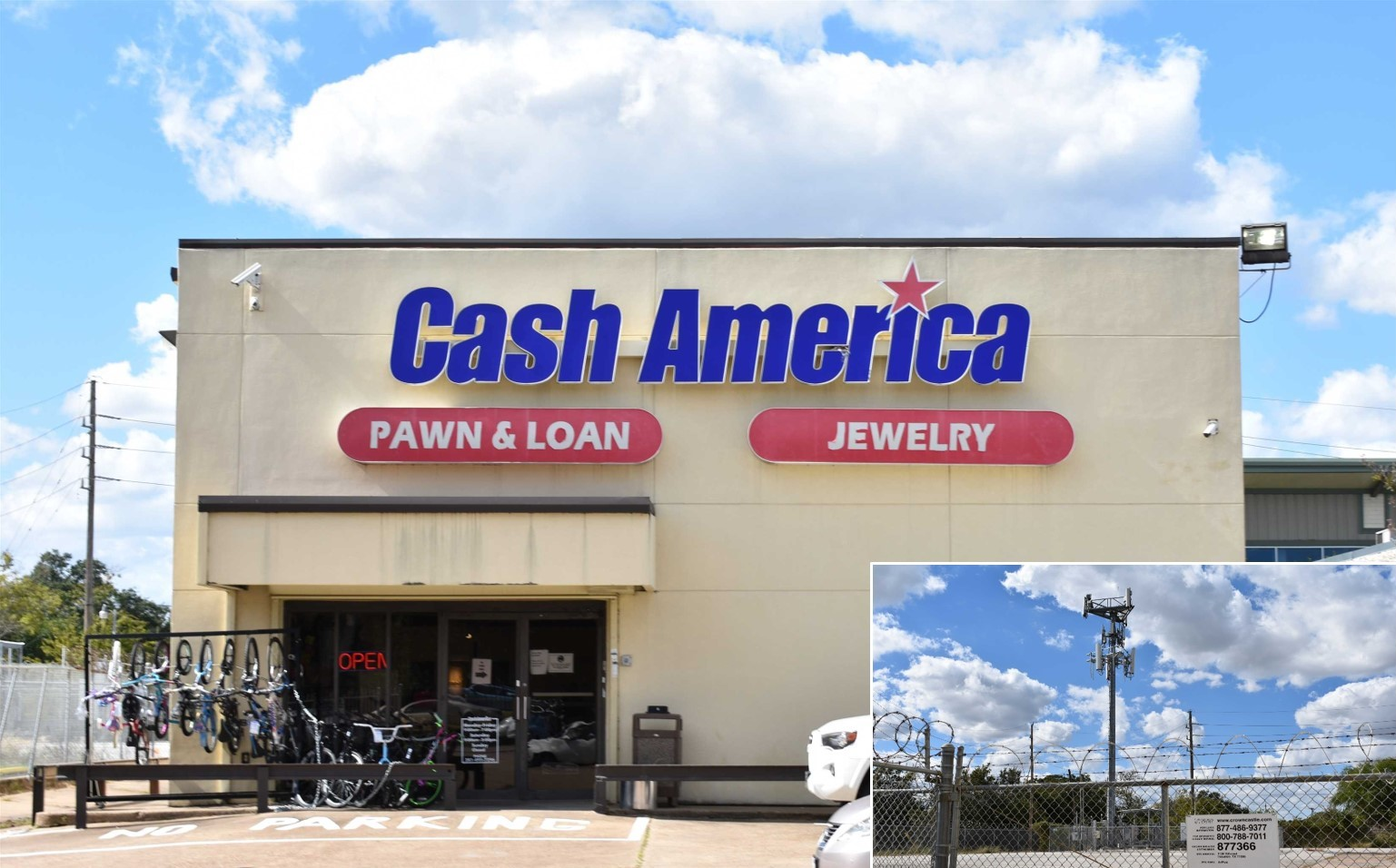 Cash America Pawn & Crown Castle Cell Tower